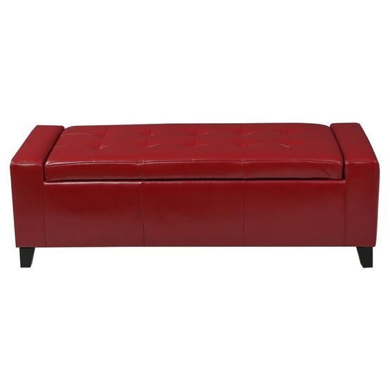 Best Selling Home Dunnellon Storage Ottoman Red - 296754
