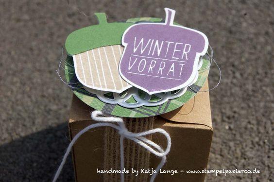 kleine Box mit dem Stanz- und Falzbrett für Geschenkschachteln / Giftbox Punch Board - Stampin' Up! - Herbstgrüße / Acorny thank you - Herbst