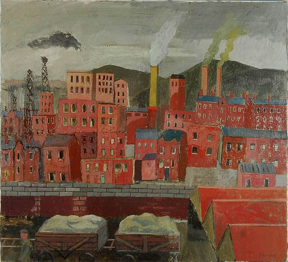 'Brick Town' by British artist Simon Quadrat (b.1946). Oil on canvas, 22 x 24 in. via Panter & Hall Gallery