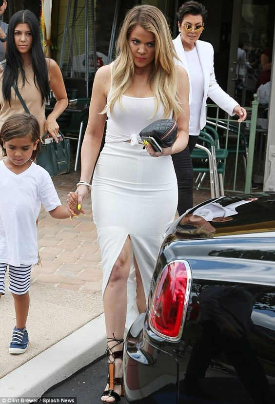 He loves his aunt: Mason held hands with Khloe after lunching together as Kris and Kourtne...