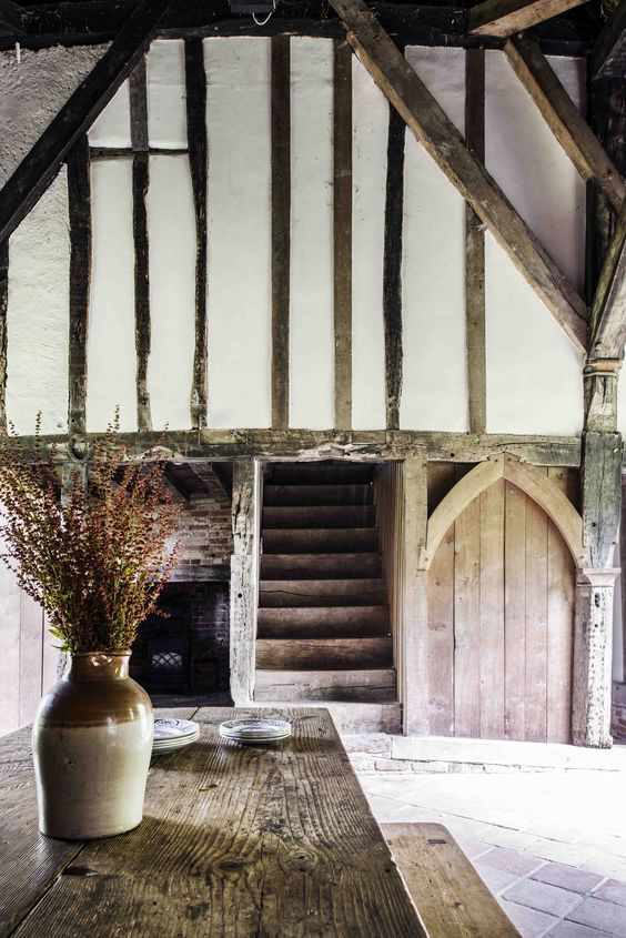 The centuries fall away as you step inside Purton Green. The #medieval walls date from 1250. #historic #interiors