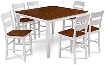 Trithi Furniture Fullerton Extendable Table And Wood Seat Chair In White Counter Height Solid Wood Dining Set Solid Wood Table Tops Counter Height Dining Sets
