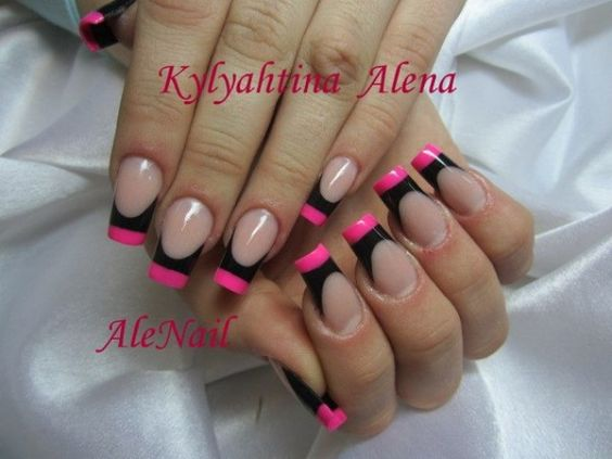 nagelmodellage bilder alenail french schwarz pink. Black Bedroom Furniture Sets. Home Design Ideas