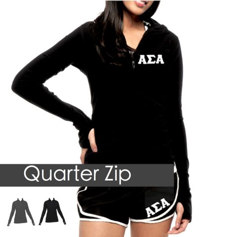 Alpha Sigma Alpha Quarter Zip Long Sleeve Shirt with white stitched Greek Letters.