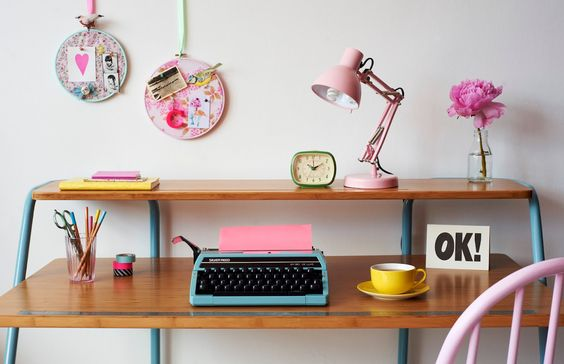 More Design Please - MoreDesignPlease - Charlotte Love's Pastel Shoot  Want this desk!