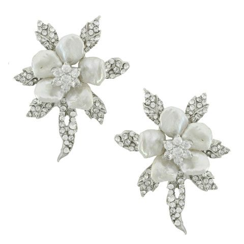 Siman Tu Crystal Pearl Flower Earrings