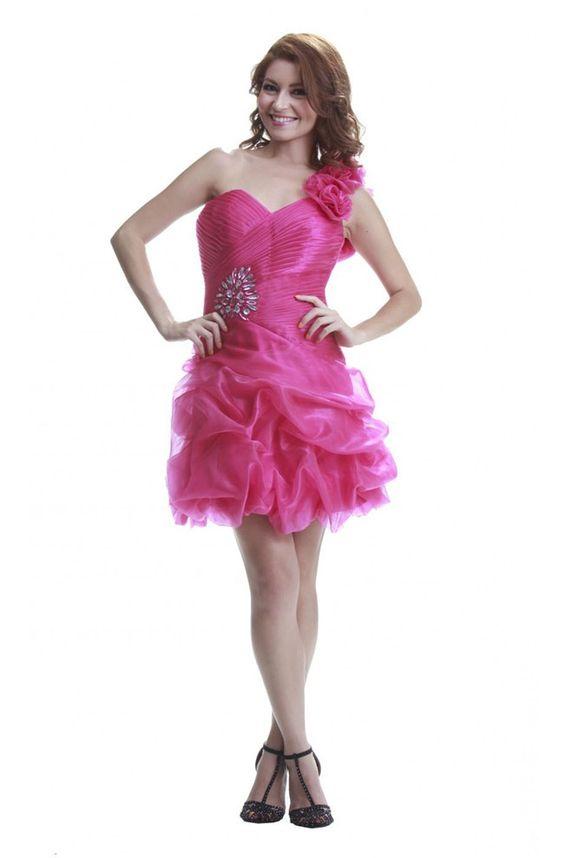 Cute One Shoulder Short Hot Pink Organza Bubble Prom Dress - hot ...