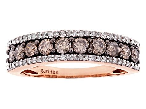 Champagne And White Diamond 10k Rose Gold Ring 0 80ctw Udg030 In 2020 Rose Gold Band Ring Gold Rings Diamond