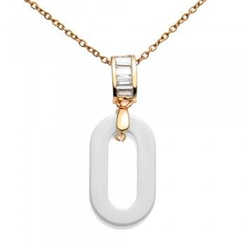 Check out this White Ceramic Jeweled Bail & Chain Necklace for only 25.60$!