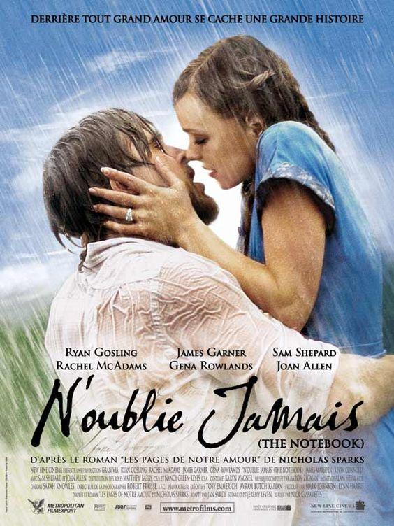 N'oublie jamais, drame et romance de Nick Cassavetes. Avec Ryan Gosling et Rachel McAdams. Très émouvante histoire d'amour.