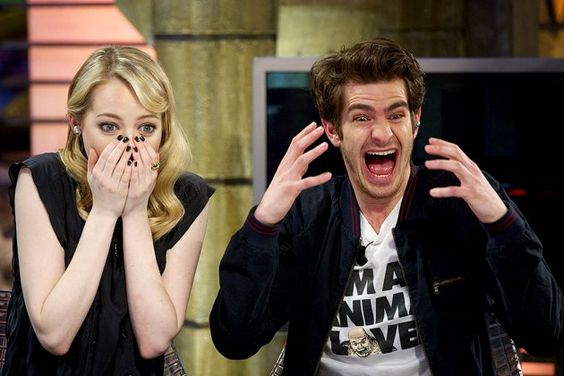 """Andrew Garfield and Emma Stone on the Spanish talk show """"El Hormiguero"""" watching home videos of people trying to do Spider-Man stunts. So much win in their expressions."""