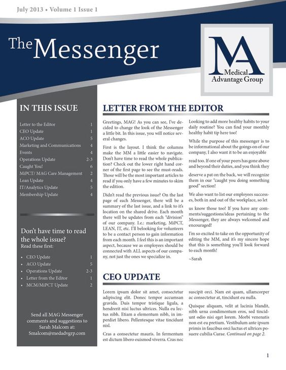 like the curved header and TOC down the side Business Newsletter - ms word newsletter templates