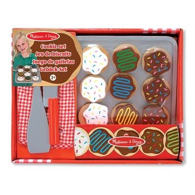 "This colorful wooden set includes 12 wooden, sliceable cookies and 12 toppings, wooden knife, spatula, cookie sheet and a kitchen mitt for safe, ""low-calorie"" play! The cookies store in a durable dough tube. Ages 3 yrs+."