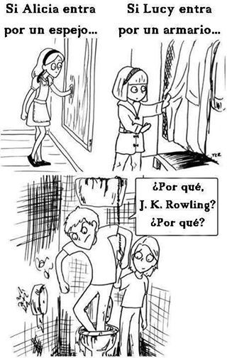 """libros  - harry potter """"Alice entered through a mirror. Lucy entered through a closet. Why, JK Rowling? Why?"""""""
