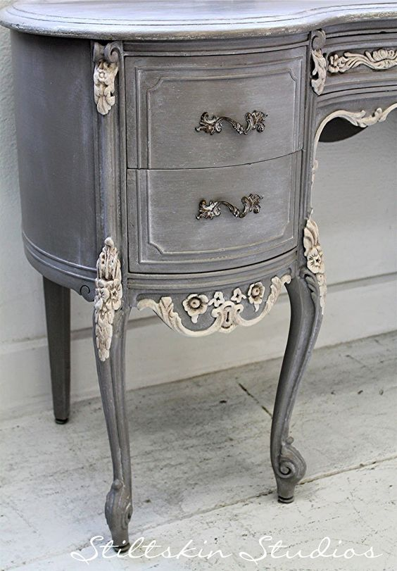 Stiltskin Studios: Weathered Grey French Desk Always love her work!