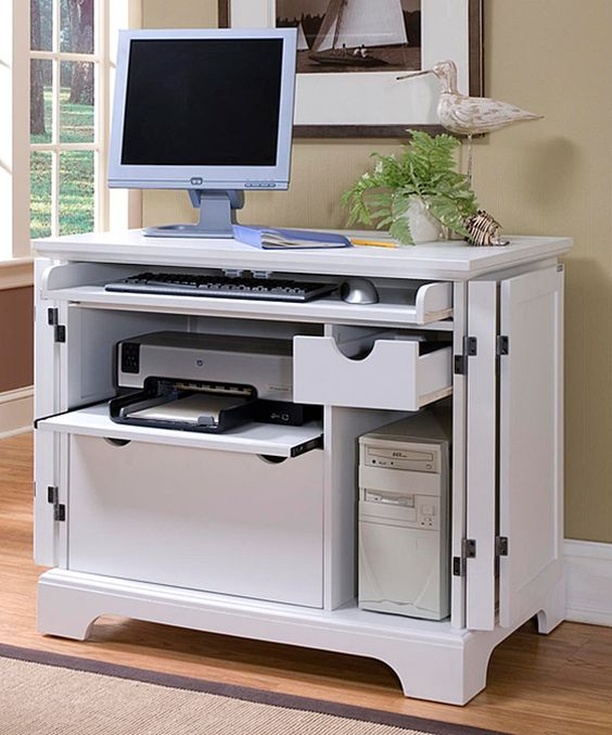 Miraculous Home Styles White Naples Compact Computer Desk Computer Desks Largest Home Design Picture Inspirations Pitcheantrous