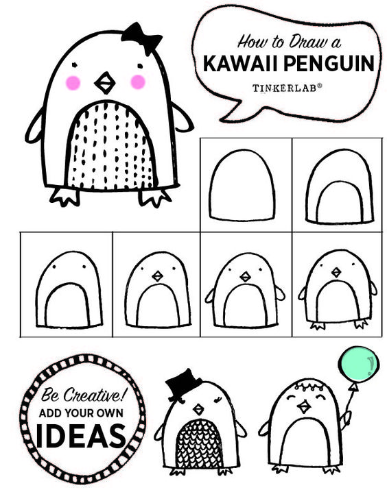 Pingouins, Comment dessiner and Dessiner on Pinterest