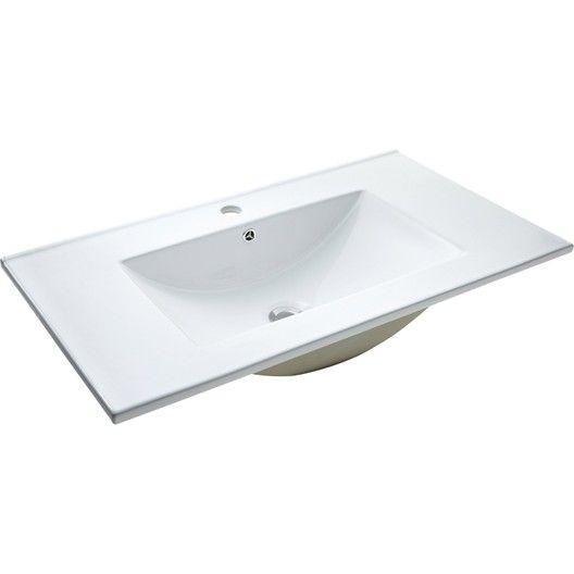 Plan Vasque Simple Ceramique L 81 X P 46 Cm Blanc Bathtub Sink Bathroom