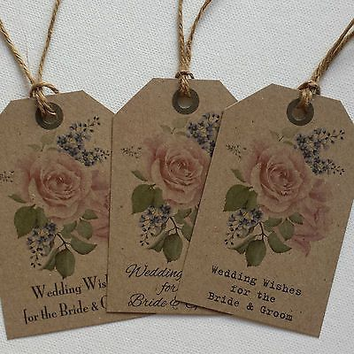 10 x Vintage/Shabby Chic Style Vintage Rose Wishing Tree Tags - Choice of font