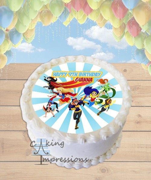 Dc Superhero Girls Edible Image Cake Topper Round Girl