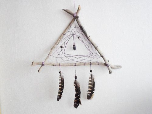 dream catcher - purple triangle - with raw amethist amulet, natural brown feathers, purple nett and wooden frame - home decor, mobile: