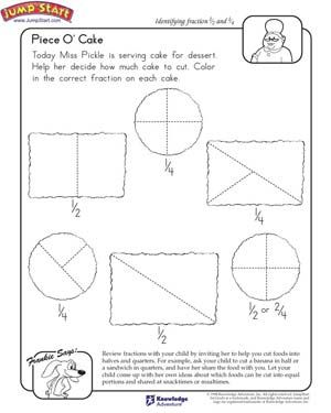 Piece O' Cake - Free Math Fractions Worksheet for Kids ...