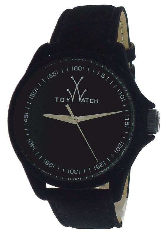 Black Sartorial Velvet Touch Leather Strap Watch by ToyWatch