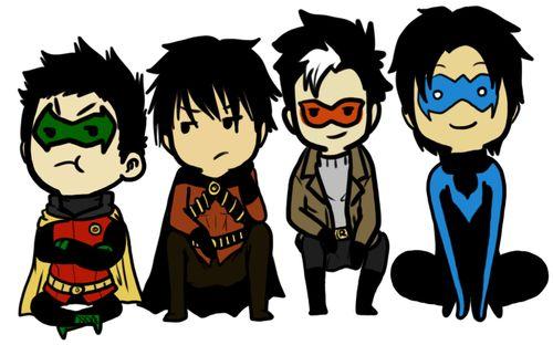 Robins! Damian Wayne, Tim Drake, Jason Todd, Dick Grayson!
