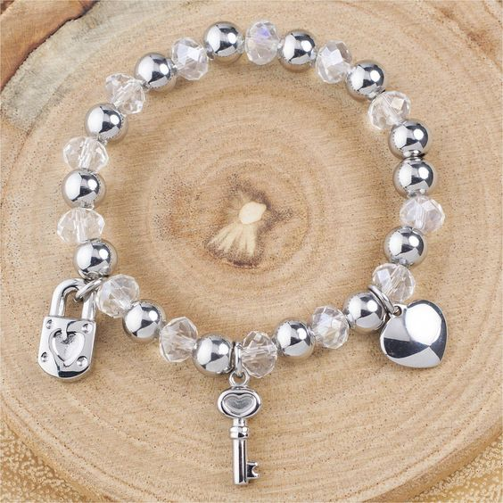 Stainless Steel Faceted Clear Beads with Heart Themed Charms