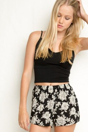 Black And White Floral Shorts