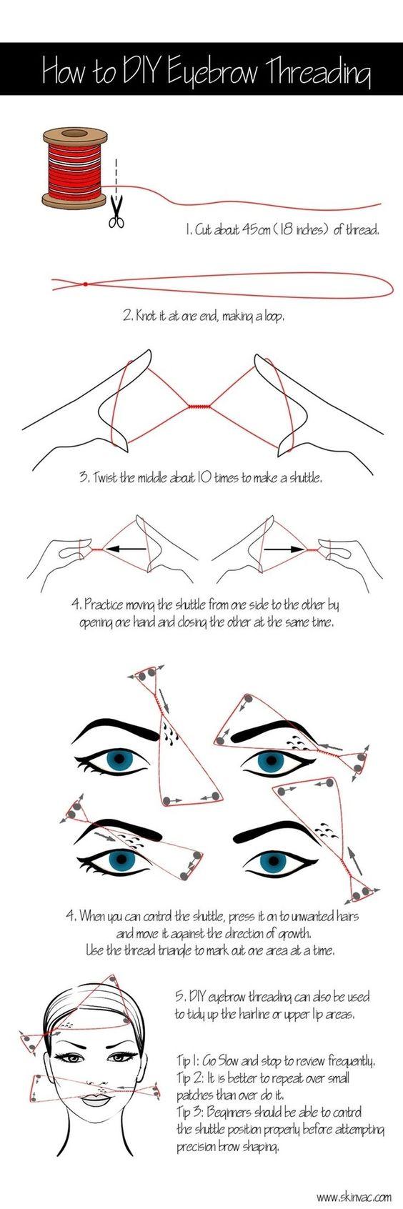 Puedes intentar depilarte con hilo tú misma…   Todo lo que siempre has necesitado saber para arreglarte las cejas