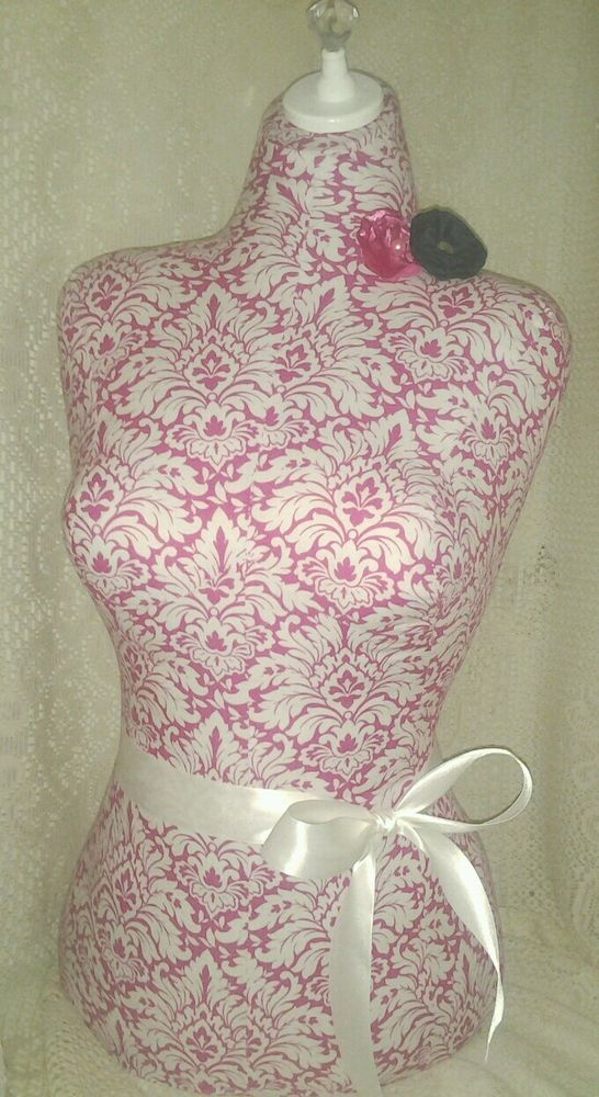 Pink dress form damask decor life size mannequin jewelry making ...