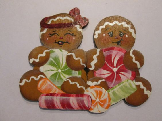 Gingerbread Mr and Mrs wooden handpainted by KatesArtCollectables