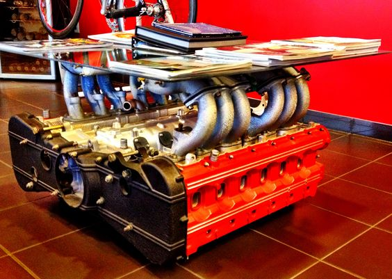i want one of these ferrari engine coffee table for. Black Bedroom Furniture Sets. Home Design Ideas