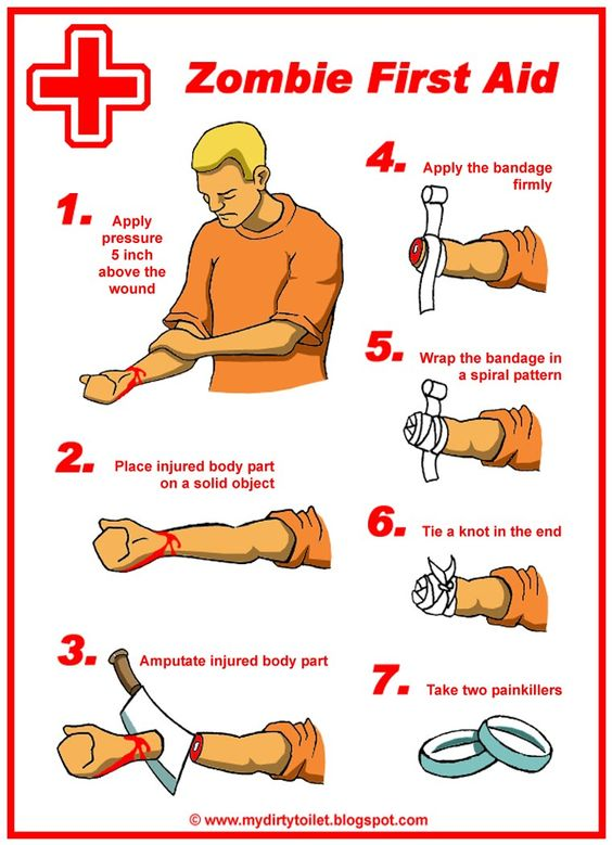 Zombie first aid. Needs a # 8: Pray it was in time.: First Aid Kit, Walking Dead, Things Zombie, Zombie Survival, Zombie Stuff, Zombie Apocalypse, Zombie Apocolypse