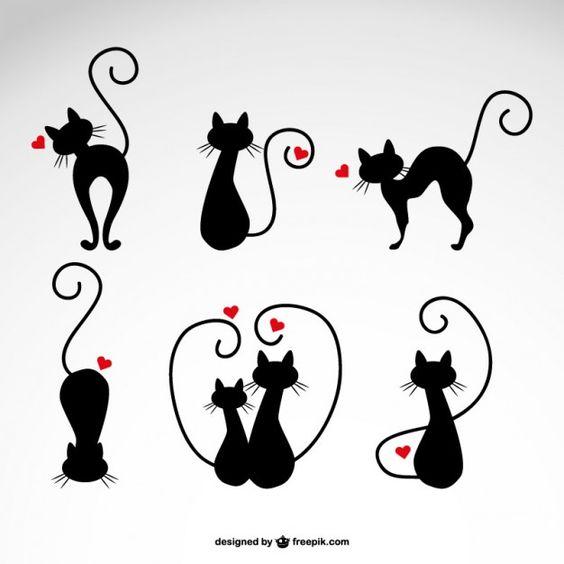 Dans les illustrations de chats d'amour de vecteur