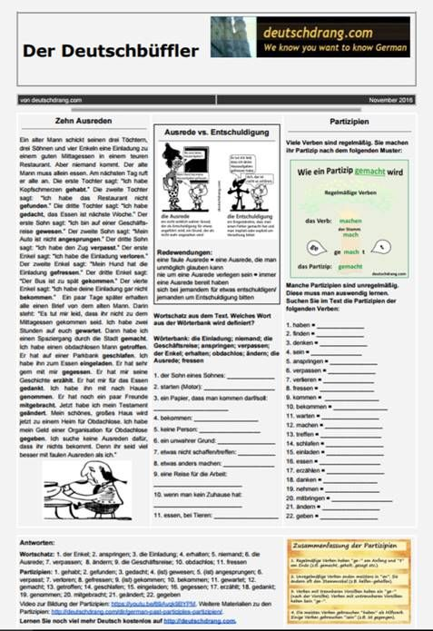 Learn German: lots of free resources; worksheets; online exercises; audio, video and vocab activities; handouts, powerpoints etc. to improve your German.