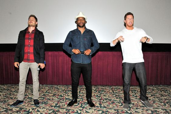 (L-R) Travis Van Winkle, Jocko Sims and Kevin Michael Martin attend TNT's 'The Last Ship' USO screening at Reading Cinemas Gaslamp 15 on June 15, 2015 in San Diego, California. 25590_001