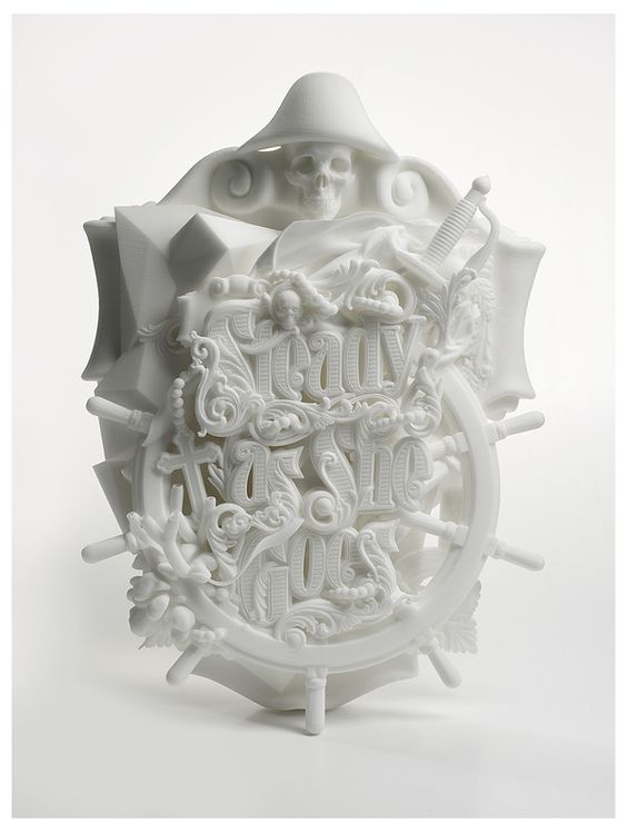 """''Steady As She Goes"""" is a beautiful 3D printed typographic sculpture by Luca Ionescu of Australian creative agency Like Minded Studio."""