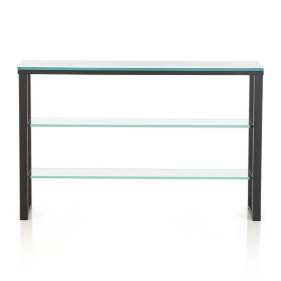 clean console floats two glass shelves on a sleek frame in a cool mix of clear glass and black steel easu2026