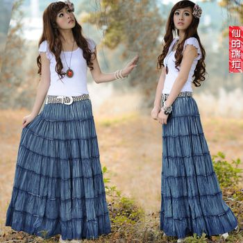 Plus Size Curvy Jeans Skirt | plus size bohemia denim Skirt