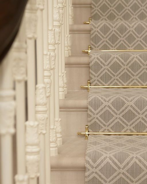 Instagram media by hgdstudio - An elegant and well finished staircase complete with runner and rods #attentiontodetail #staircase #carpetrunner #helengreendesign #luxuryliving #interiordesign #designdaily: