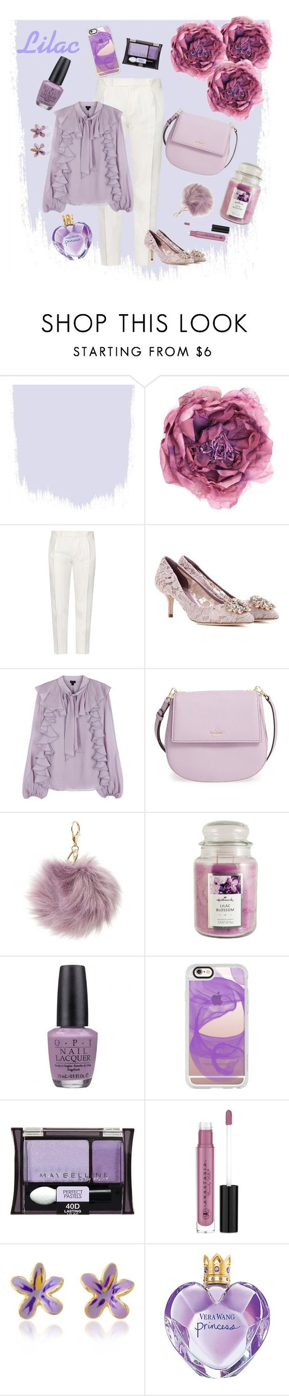 """""""Romantic Lilac"""" by miranti-nathasia-putri ❤ liked on Polyvore featuring Gucci, Tod's, Dolce&Gabbana, Giambattista Valli, Kate Spade, Charlotte Russe, Hallmark, OPI, Casetify and Maybelline"""