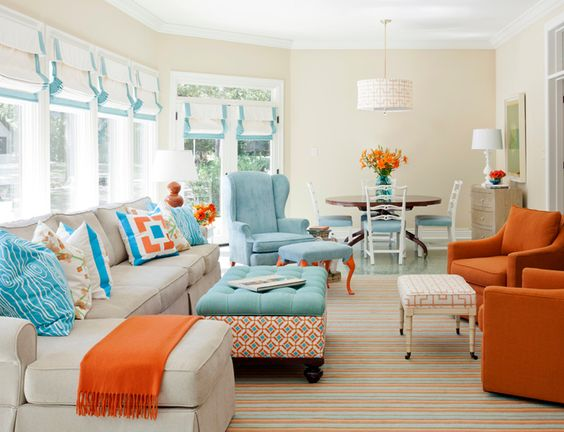 House of Turquoise. Babies room colors: Orange Living Room, Livingroom, Family Room, Room Design, Color Combination