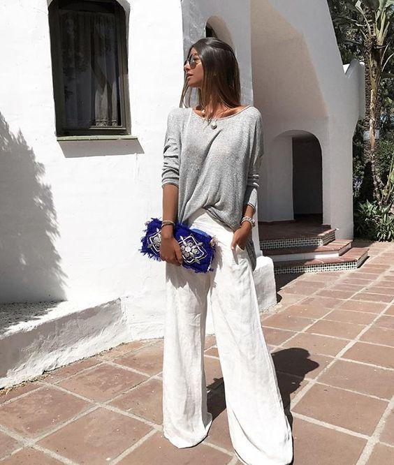 WEBSTA @ chrisbittar - Aquele estilo de look que eu amo só um pouco calça maxipantalona blusinha de malha mescla da @aliciaoficiall sabe aquela malhinha pra usar toda hora?! Amo! as costas da blusa consegue ser ainda mais TOP! em breve posto pra vcs! #amazinglook #fab #fabulous #marbella #eurosummer #eurovibes #eurotrip #marbellous #alicia
