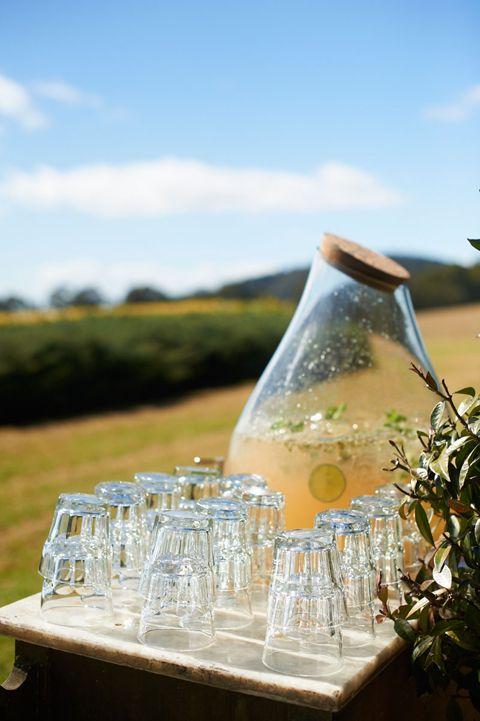 Organically inspired refreshment station at Kara Rosenlund's wedding. Photography by Nikole Ramsay