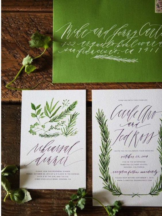 Green wedding stationery. Hot new wedding trend: Greenery – Pantone colour of the year 2017: