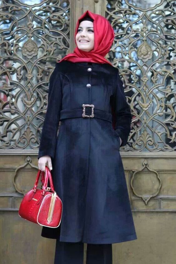 Red Turkish Hijab with Black Long Coat