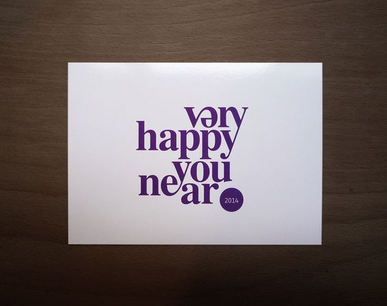This a postcard made by Miklos to celebrate the new year. Its a limited edition postcard and the target audience is most likely for people close to him. The design is nice with the main message being the only element on the front. The message is a pun on 'very happy new year' and the text has been position and manipulated in such a way that it merges with the next word. The minimalistic design is present on the back as well.