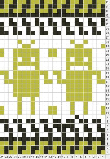 Knitting Charts And Motifs : Meep robots knitting motif charts